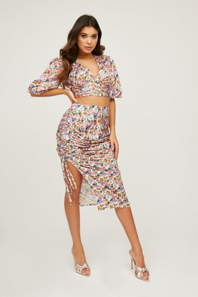 Little Mistress Sloane Floral-Print Satin Ruched Midi Skirt Co-ord