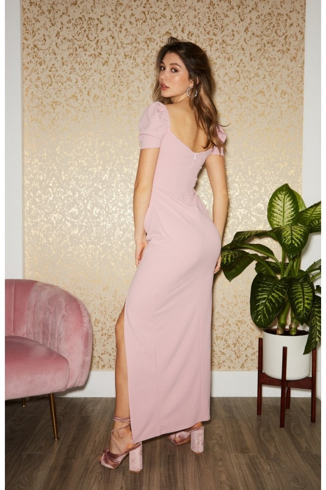 Little Mistress McIntosh Dusty Pink Puff Sleeve Maxi Dress