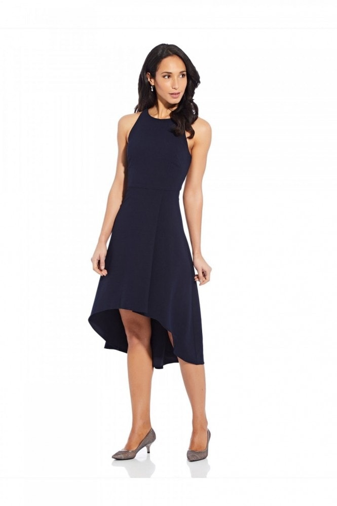 Adrianna Papell Pleat Detail Crepe Dress In Blue Moon