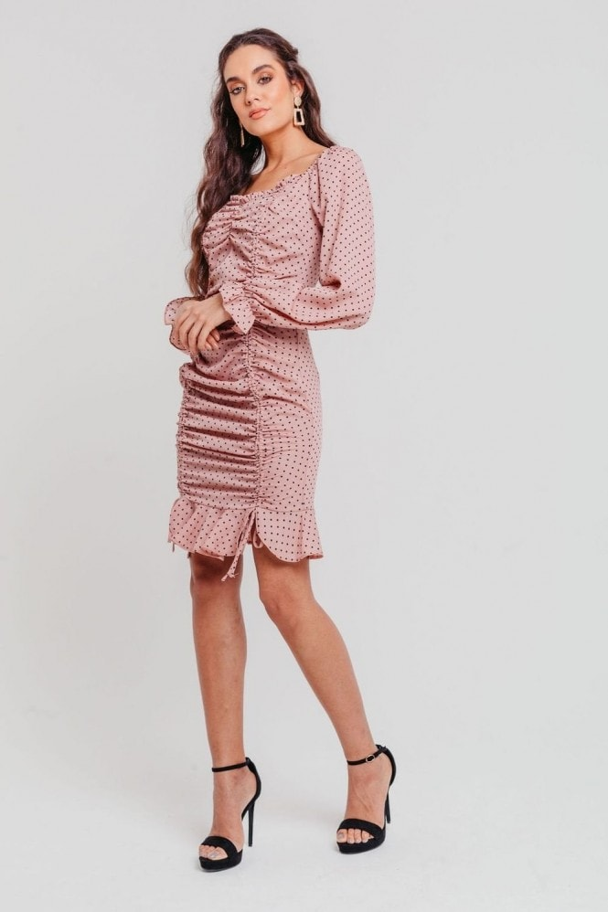 Pretty Darling Pink Polka Dot Ruched Long Sleeves Bodycon Dress