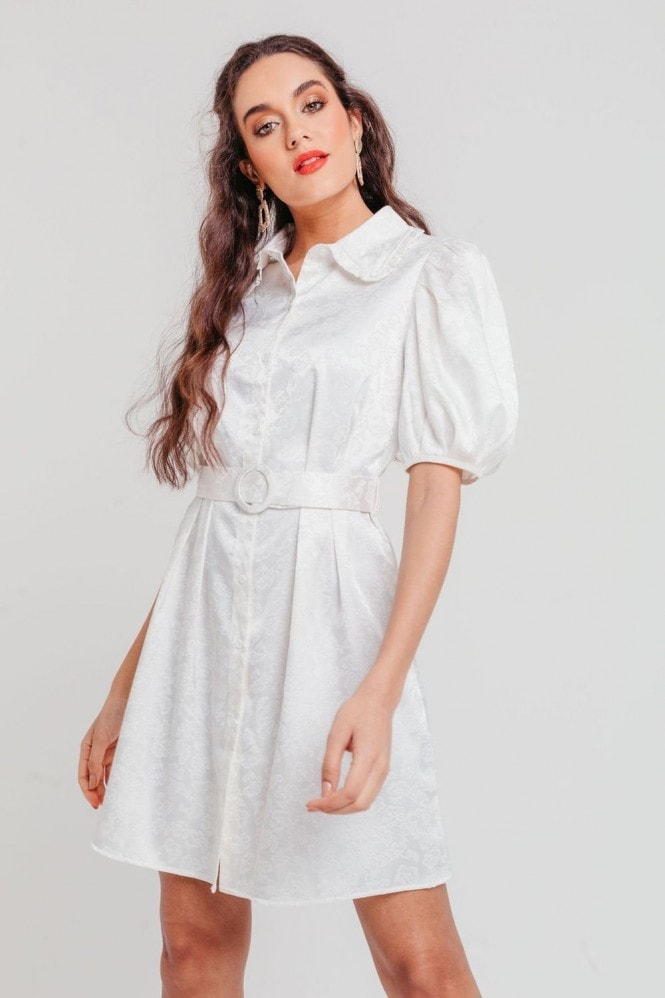 Pretty Darling White Jacquard Balloon Sleeve Tea Dress