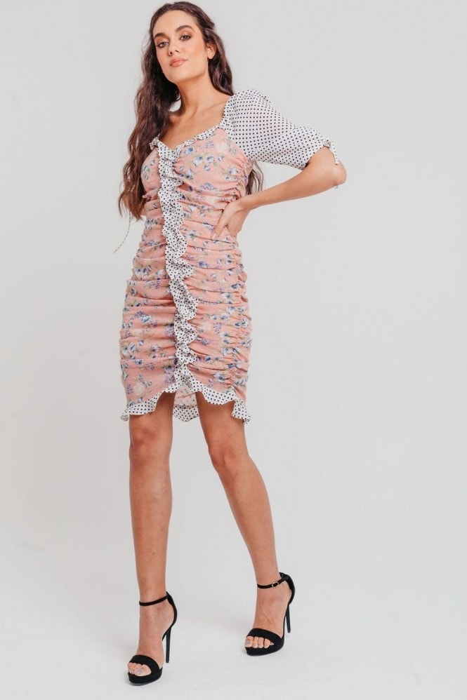 Pretty Darling Pink Mix And Match Floral Bodycon Dress With Ruched Details