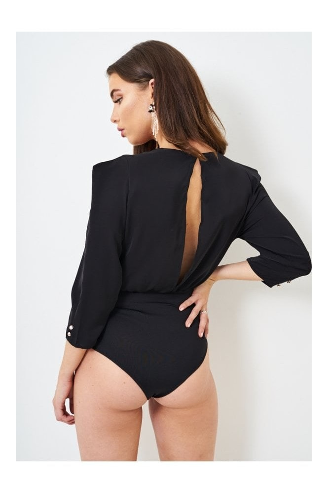 Love Frontrow Wrap Effect Long Sleeve Bodysuit In Black