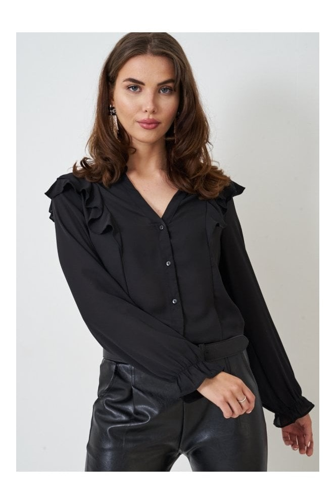 Love Frontrow Black Frill Chiffon Blouse