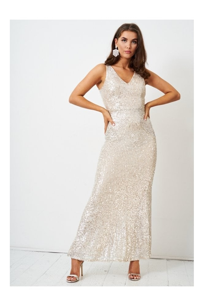 Love Frontrow Silver Sequin Floor Length Gown