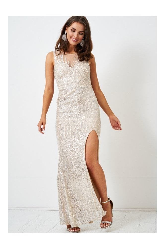 Love Frontrow Silver Sequin Gown with Side Split