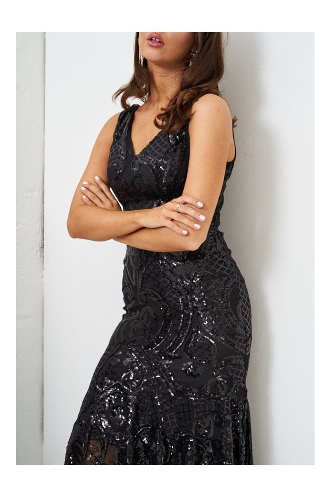 Love Frontrow Black Sequin Fishtail Gown