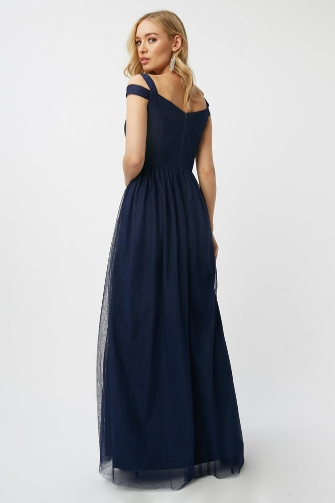 Little Mistress Bridesmaid Aliza Navy Sweetheart Maxi Dress
