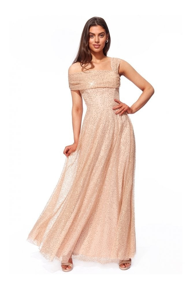 Goddiva One Shoulder Bardot Sequin & Mesh Maxi Dress - Champagne