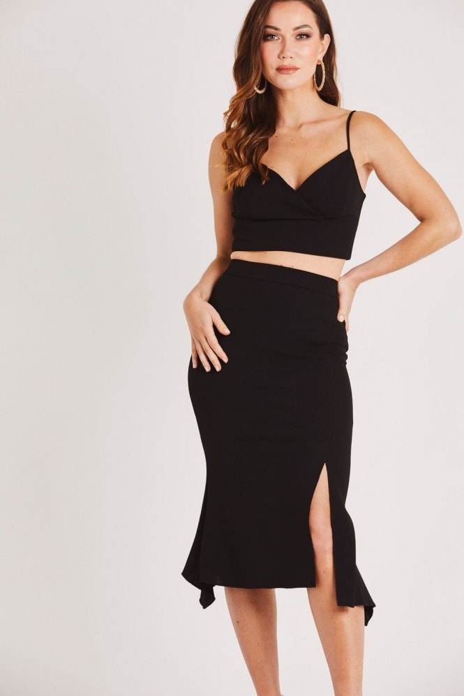 Skirt & Stiletto Strappy Crop Top in Black