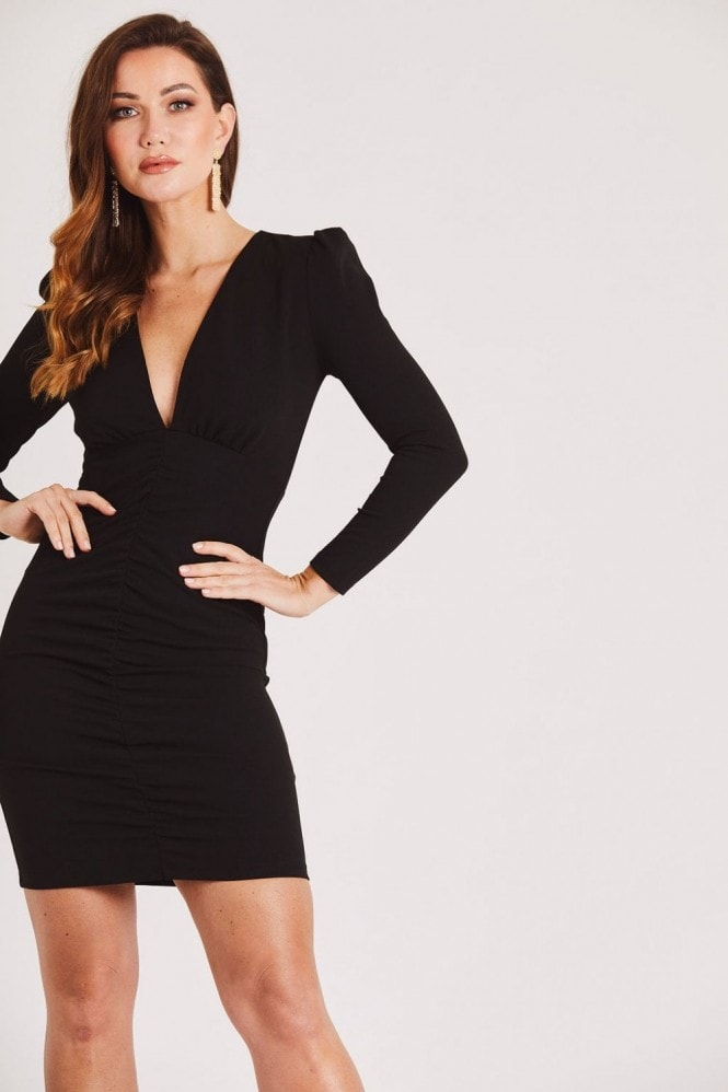 Skirt & Stiletto Black Long Sleeve Mini Dress with Plunge Neck & Puff Shoulder