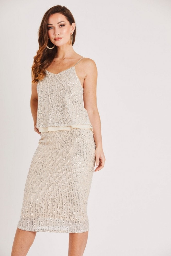 Skirt & Stiletto Champagne Sequin Cami Top