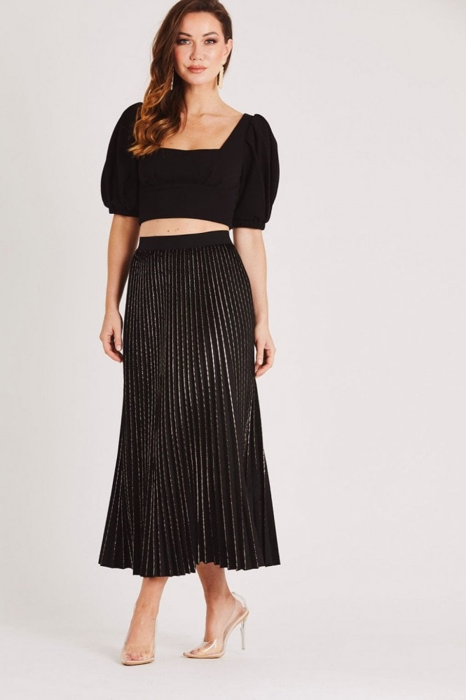 Skirt & Stiletto Black Pleated Velvet Midi Skirt with Gold Detail