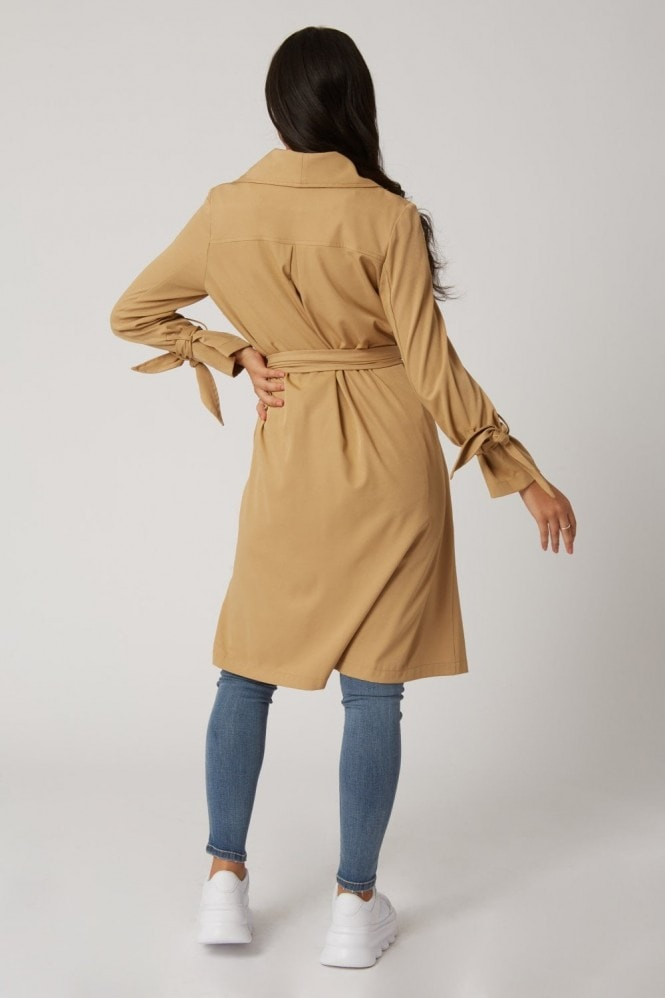 Girls on Film Calibre Camel Tie-Cuff Trench Coat