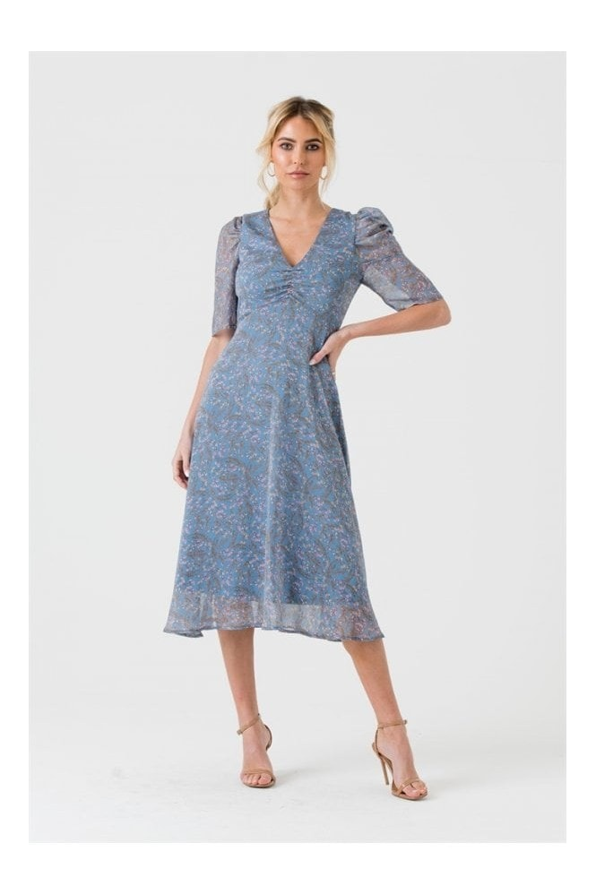LIENA Blue Floral Midi Dress with Short Puff Sleeves