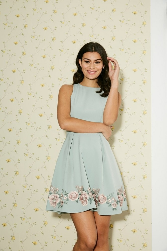 Paper Dolls Dian Pistachio Embroidered Mini Skater Dress