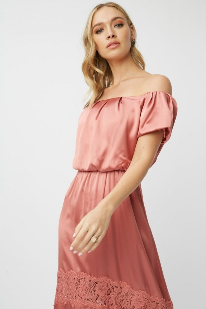 Little Mistress Bridesmaid Corrina Desert Rose Satin Bardot Maxi Dress