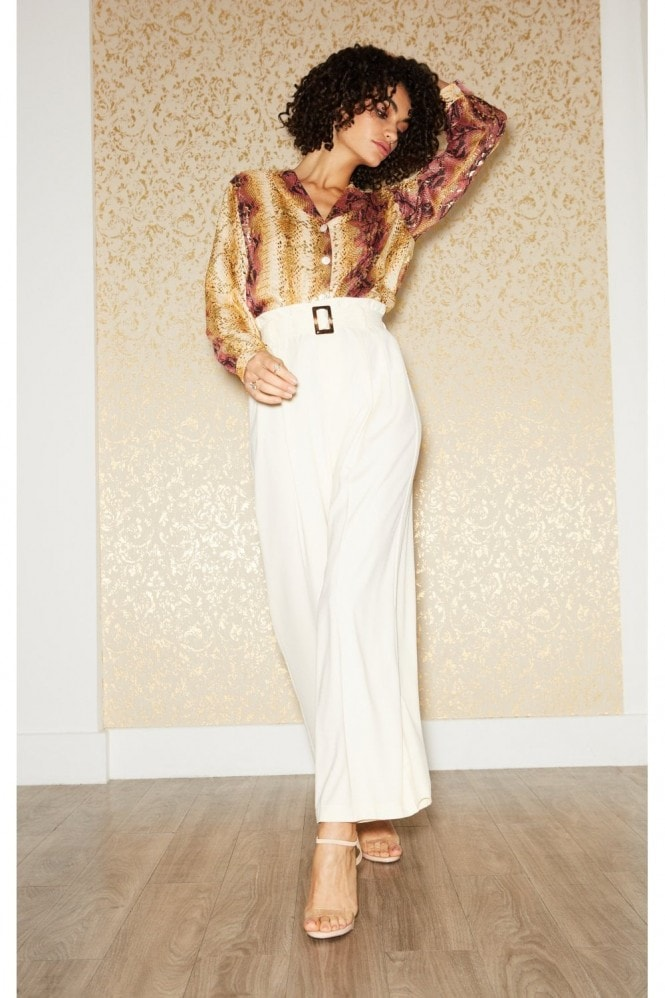 Outrageous Fortune Espionage Biscuit Belted Wide-Leg Trousers