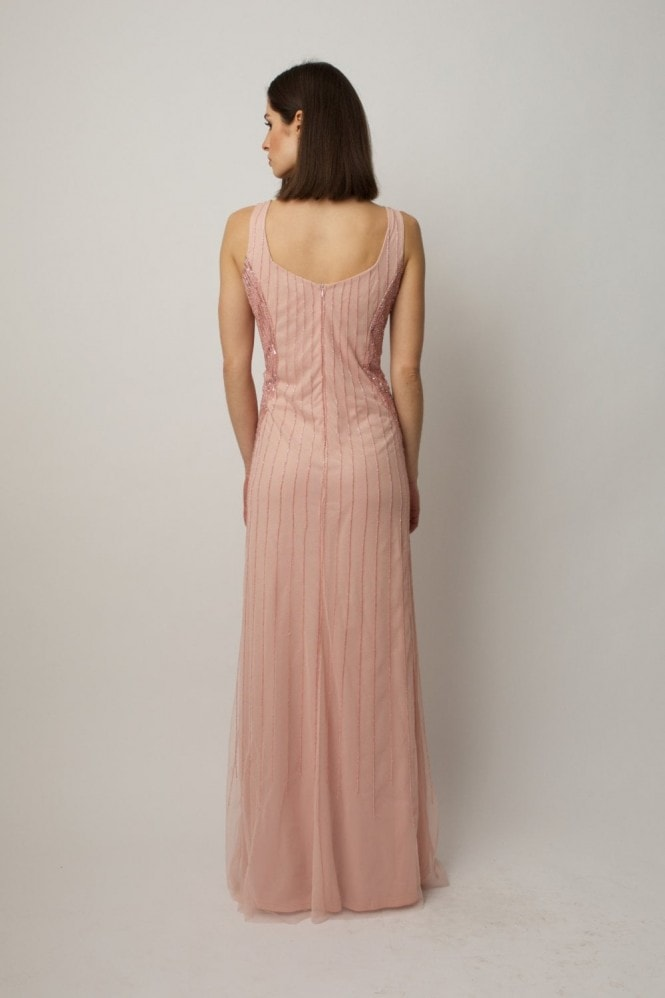 Raishma Blush embellished gown with sheer beaded cropped cape