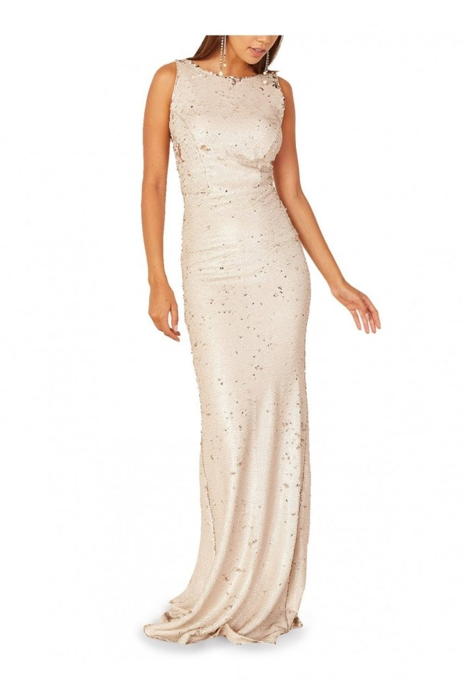 Mimi + Alice Cammy Bateau Neck Sequinned Gown