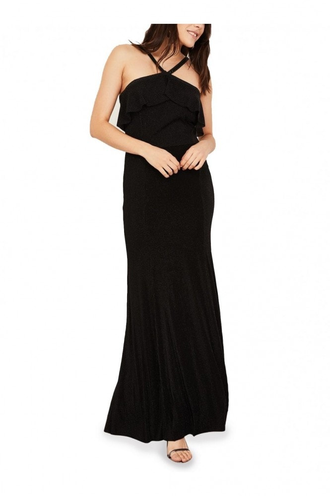 Mimi + Alice Charlotte Ruffled Halter Neck Evening Dress