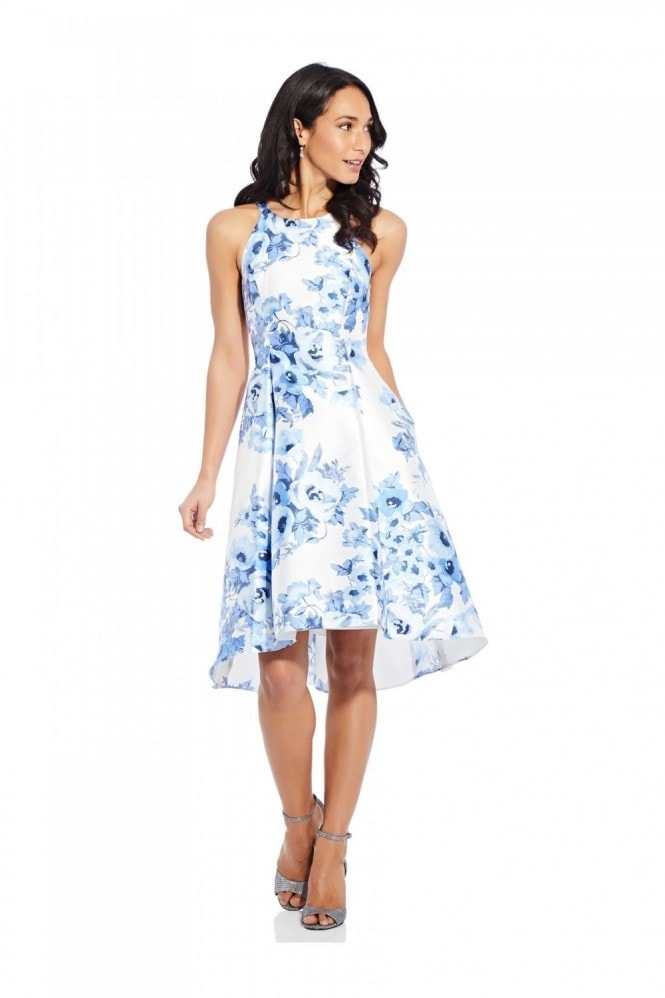 Adrianna Papell Toile Floral High-Low Dress In Blue Multi