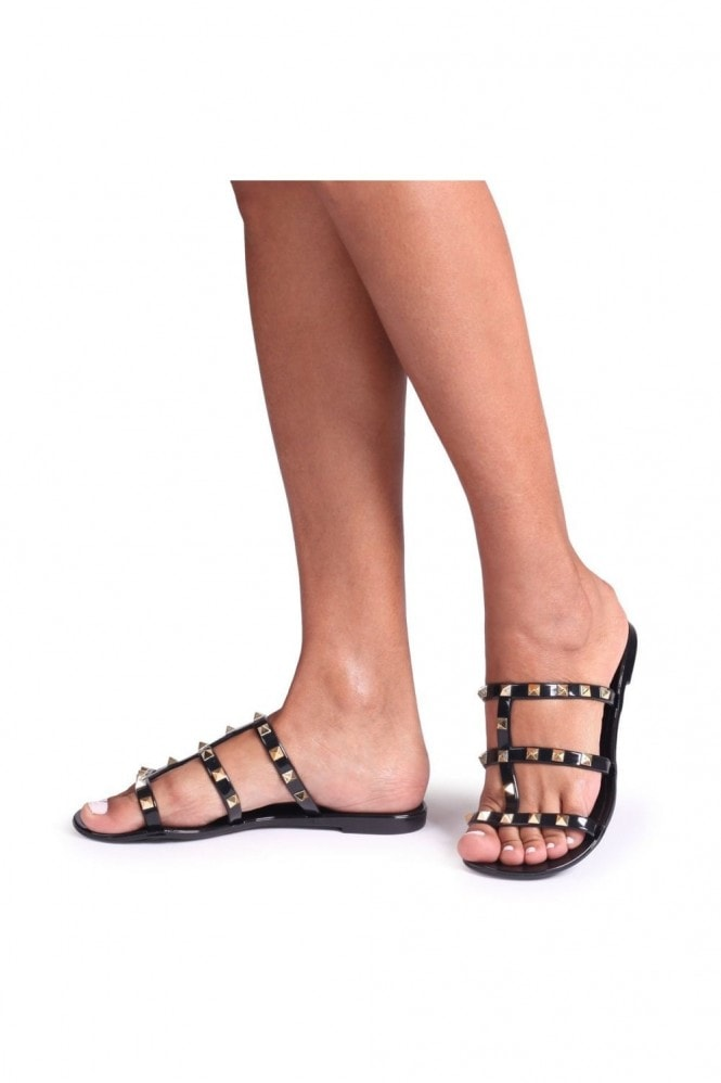 Linzi CHARMER - Black Slip On Studded Gladiator Slider