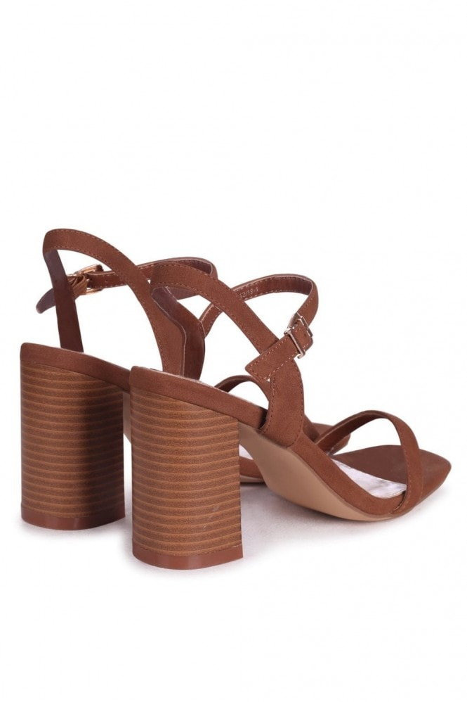 Linzi HARLEY - Tan Nubuck Barely There Stacked Heeled Sandal