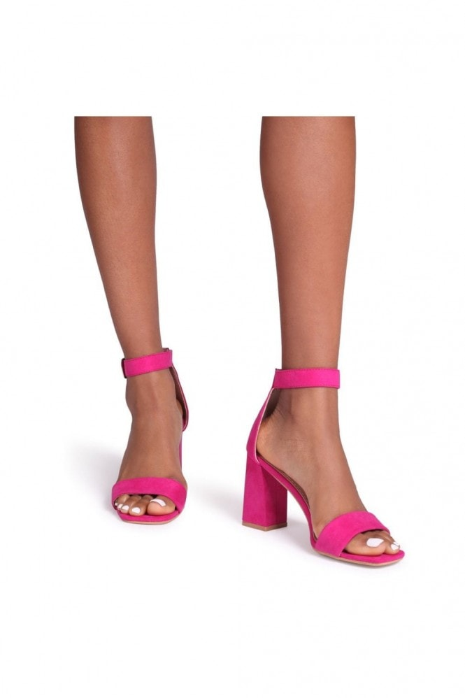 Linzi LATTE - Hot Pink Barely There Block Heeled Sandal