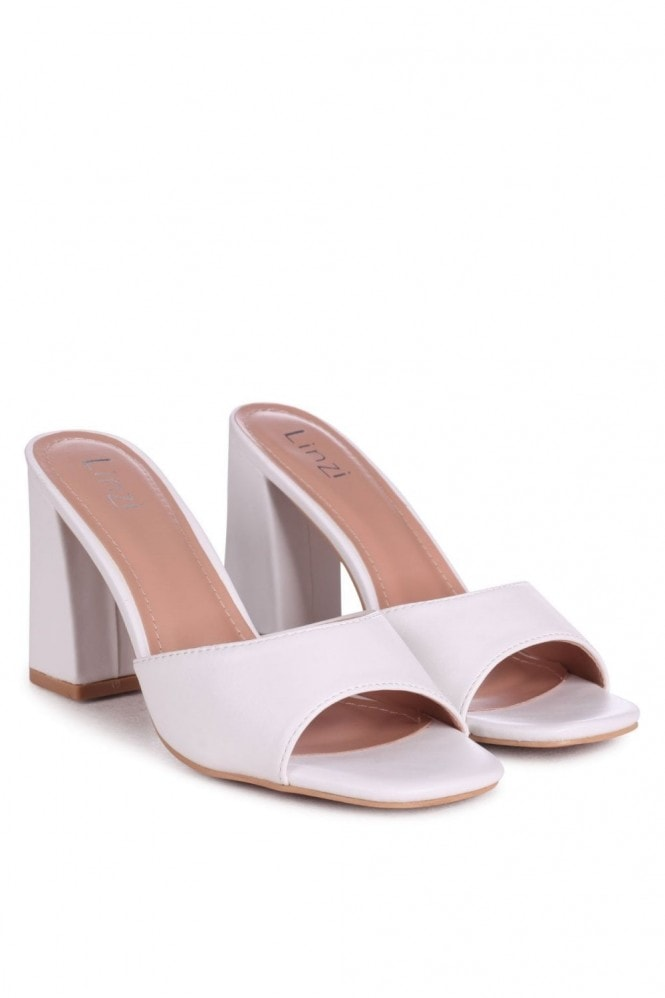 Linzi BRIXTON - White Leather Block Heeled Mule