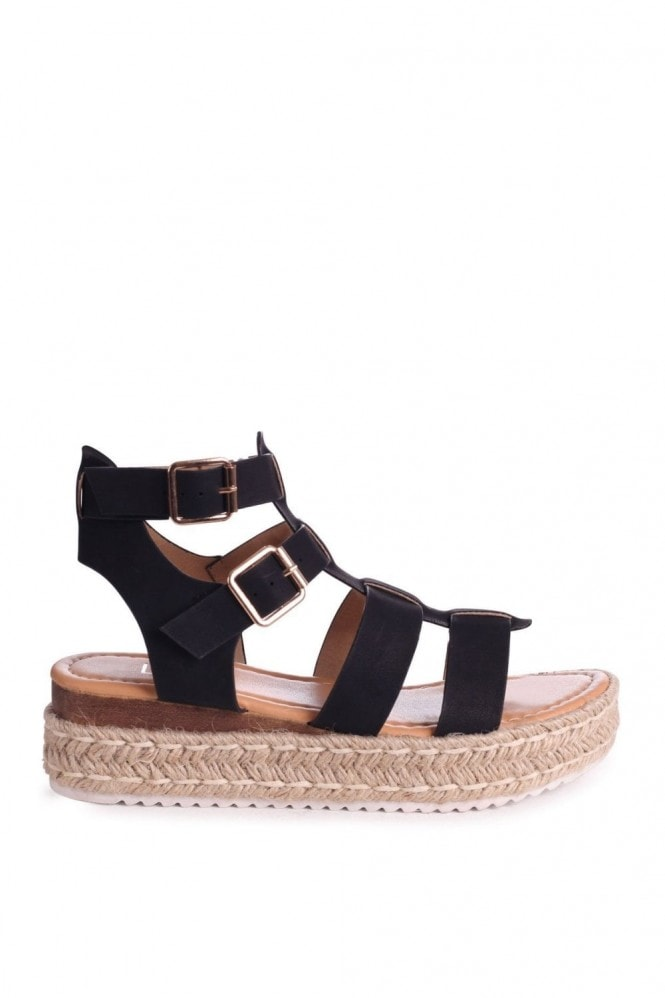 Linzi MADRID - Black Nubuck Gladiator Espadrille Platform Wedge