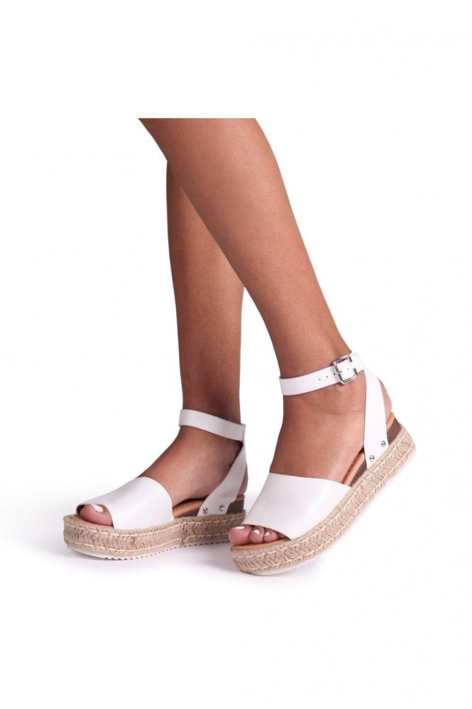 Linzi MOONLIGHT - White Nappa Two Part Espadrille Inspired Platform Wedge
