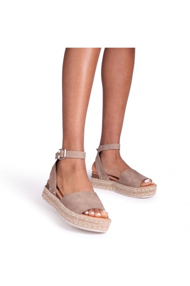 Linzi MOONLIGHT - Taupe Nubuck Two Part Espadrille Inspired Platform Wedge