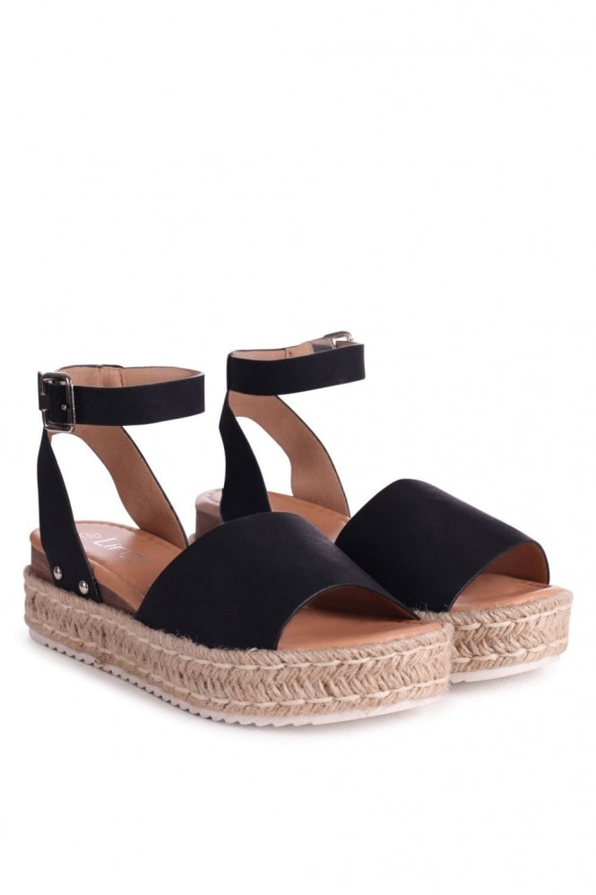 Linzi MOONLIGHT - Black Nubuck Two Part Espadrille Inspired Platform Wedge