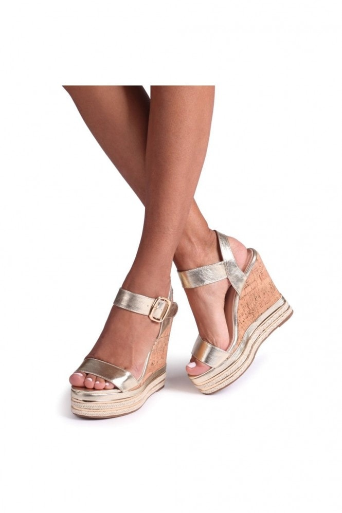 Linzi APRIL - Gold Cork Wedge With Gold & Rope Trim