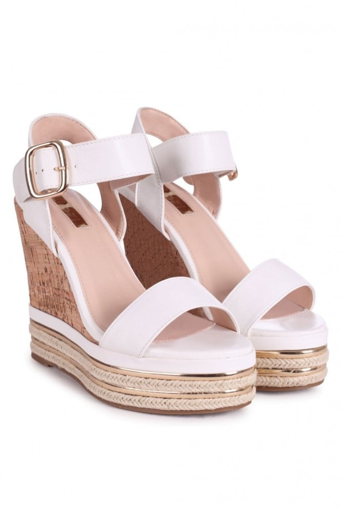 Linzi APRIL - White Nappa Cork Wedge With Gold & Rope Trim