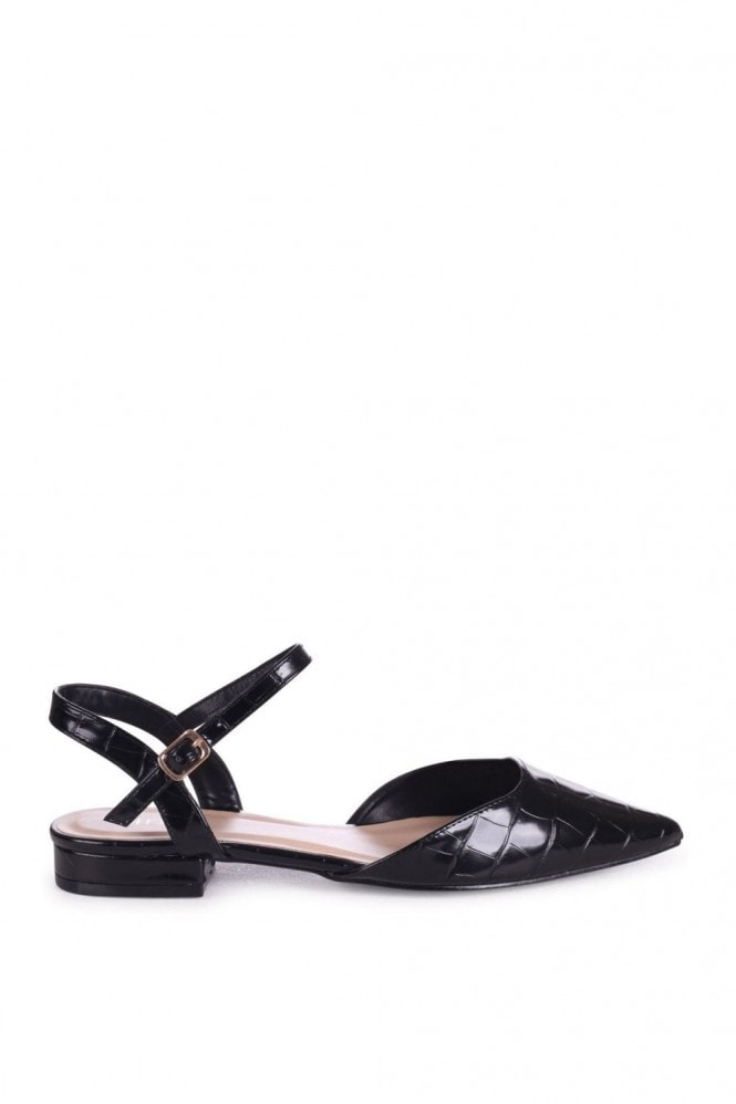 Linzi FLORA - Black Croc Pump With Pointed Toe