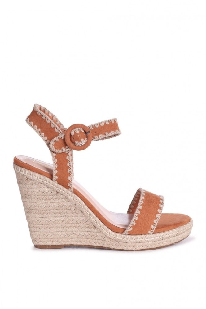 Linzi ANNABEL - Tan Suede Espadrille Wedge With Macrame Trim