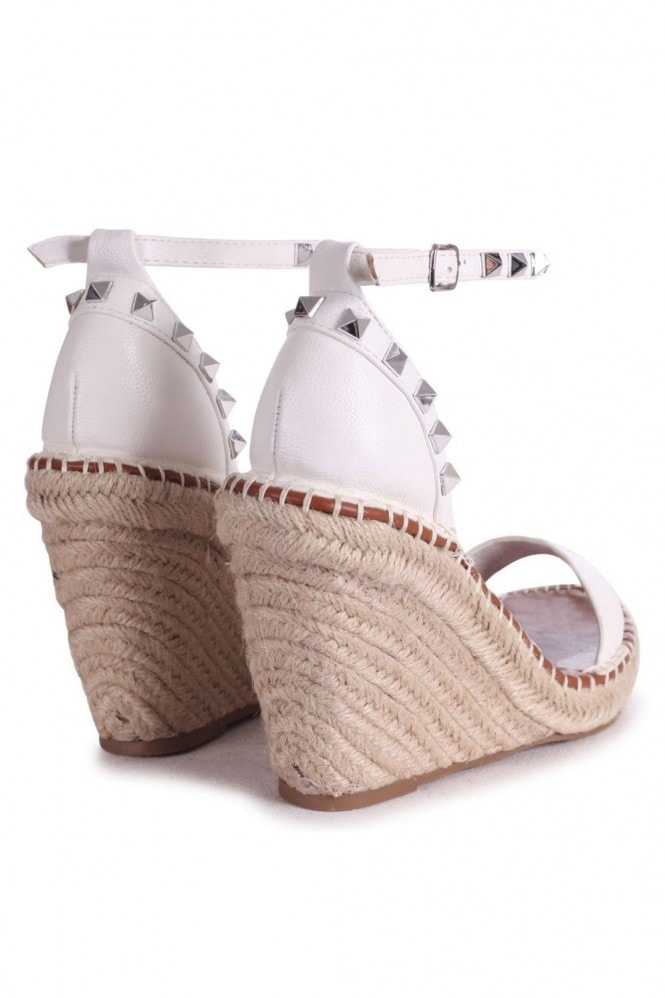 Linzi PROSECCO - White Espadrille Wedge With Studded Detail