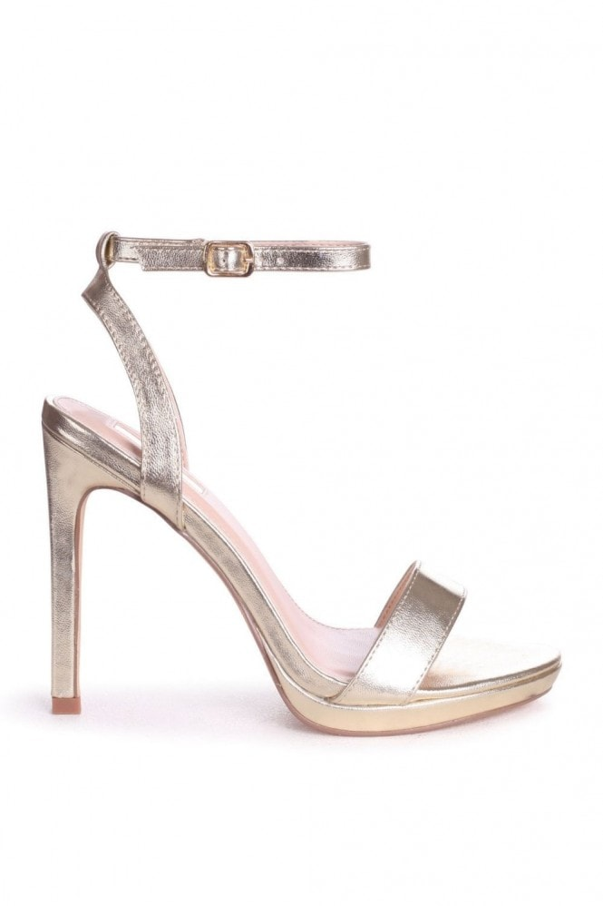 Linzi HIGHER LOVE - Gold Open Back Barely There Stiletto Sandal