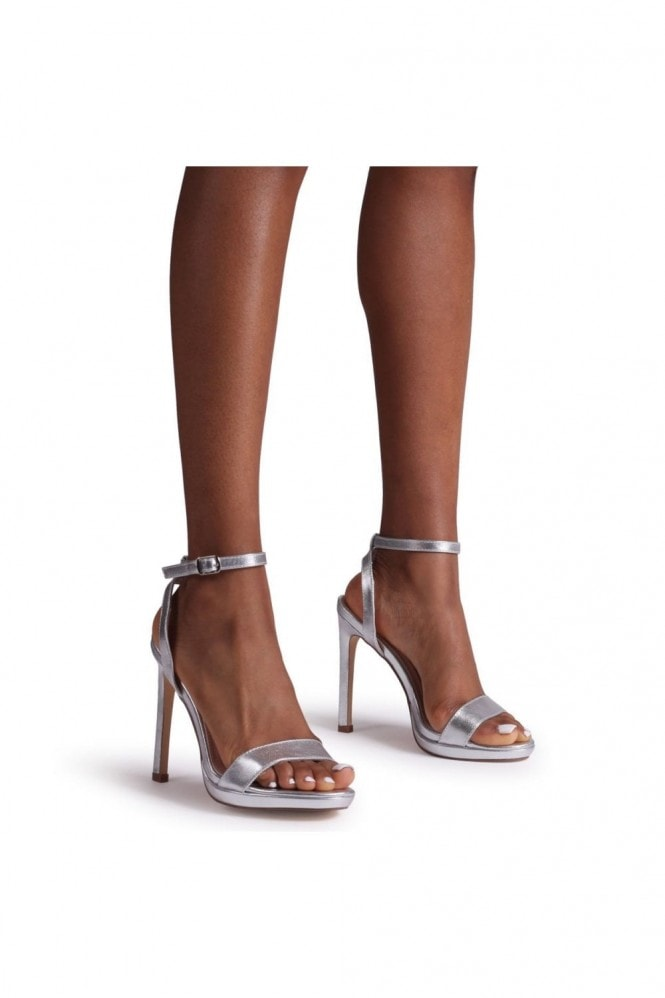 Linzi HIGHER LOVE - Silver Open Back Barely There Stiletto Sandal