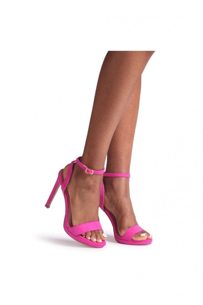 Linzi HIGHER LOVE - Hot Pink Suede Open Back Barely There Stiletto Sandal