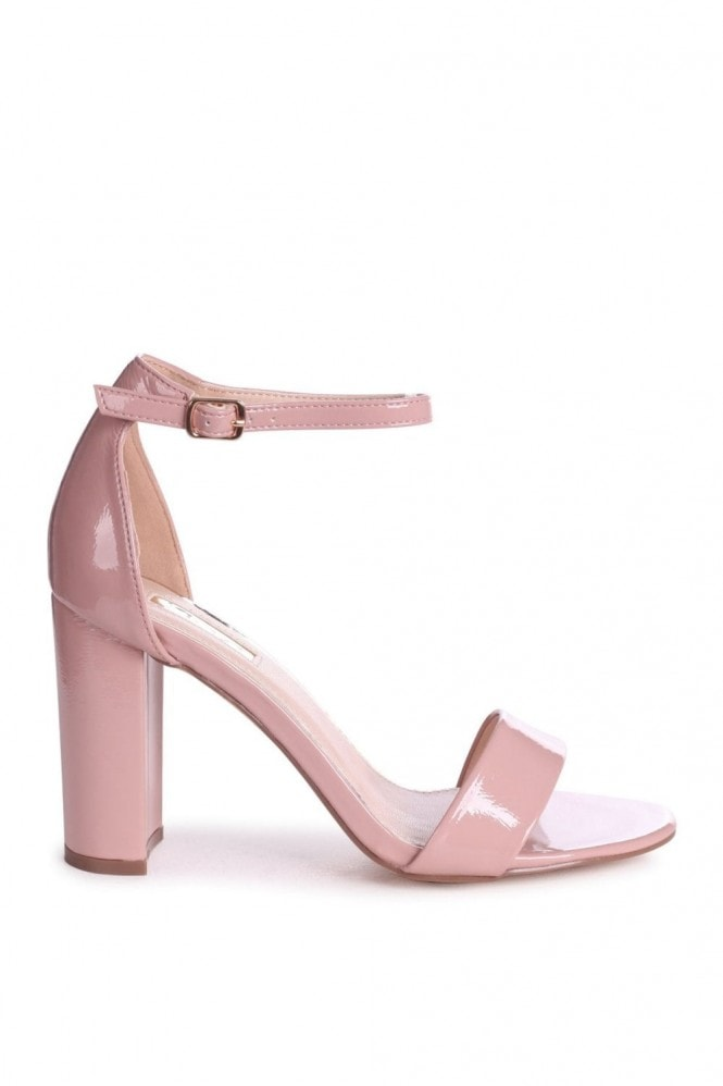 Linzi DAZE - Dusky Pink Patent Barely There Block High Heel