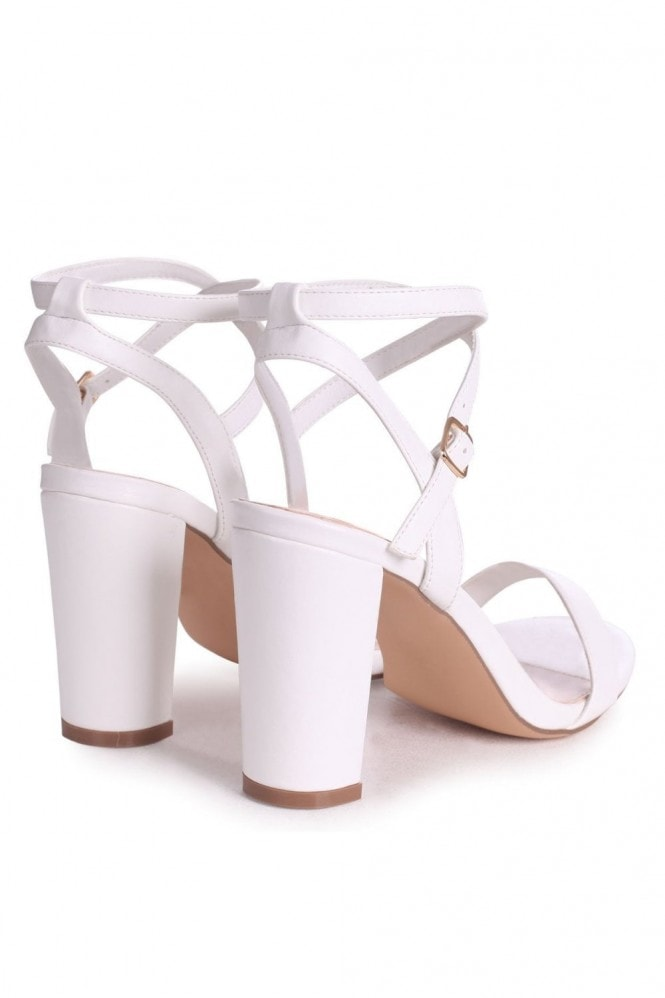 Linzi TRUE LOVE - White Nappa Block Heeled Sandal With Crossover Ankle Strap
