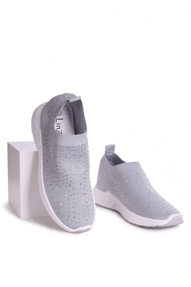 Linzi LARA - Grey Sock Trainer With All Over Diamante Detail & White Rubber Sole