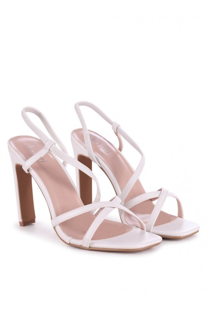 Linzi STARLIGHT - White Nappa Sling Back Strappy Slim Heel