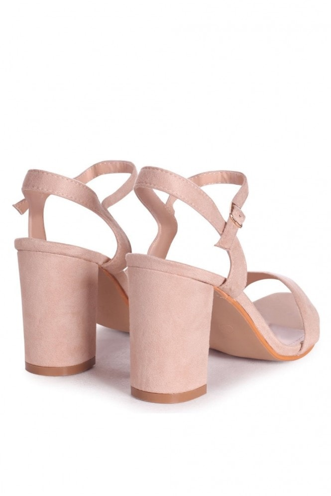 Linzi CHERUB - Nude Suede Open Back Barely There Block Heeled Sandal