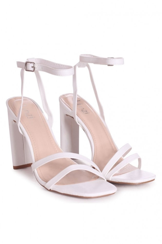 Linzi SWEETHEART - White Nappa Slim Heeled Sandal With Double Front Strap