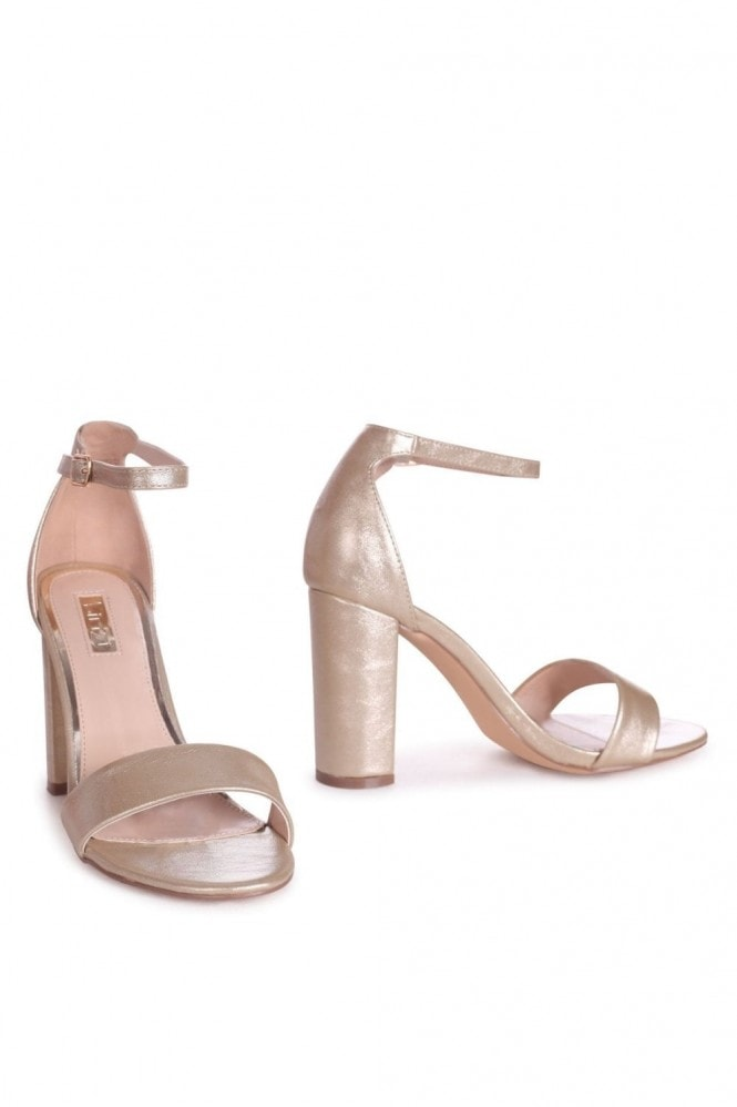 Linzi SELENA - Gold Nappa Barely There Block High Heel