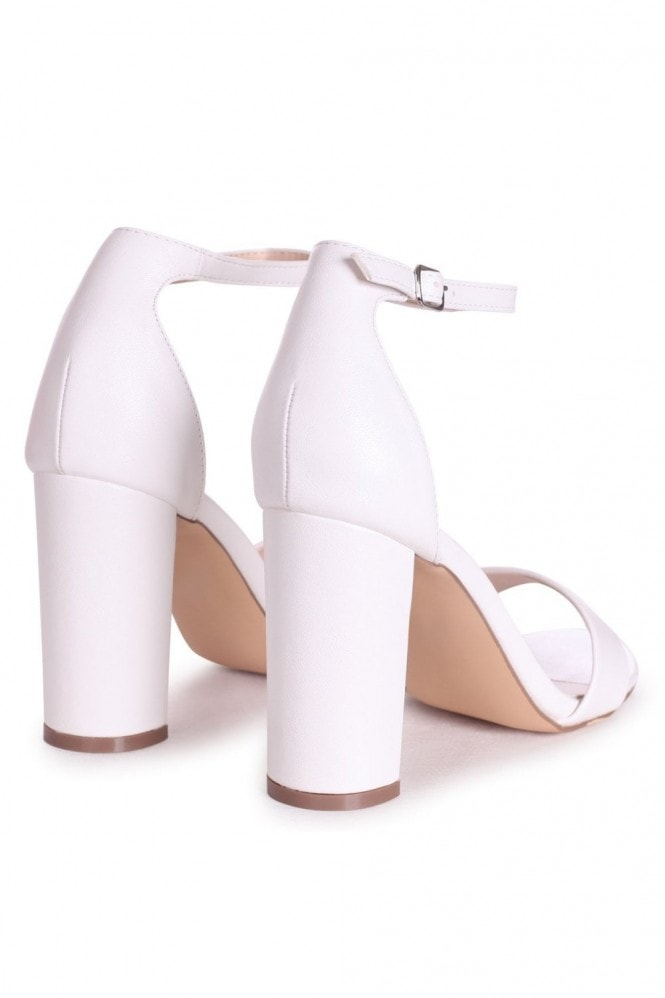 Linzi SELENA - White Nappa Barely There Block High Heel